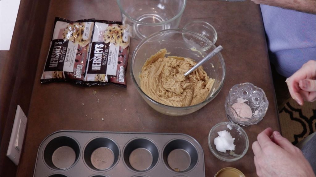 Keto peanut butter mixture in a medium glass bowl.