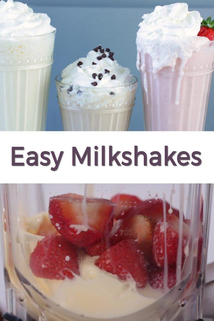 Easy milkshakes pin for Pinterest
