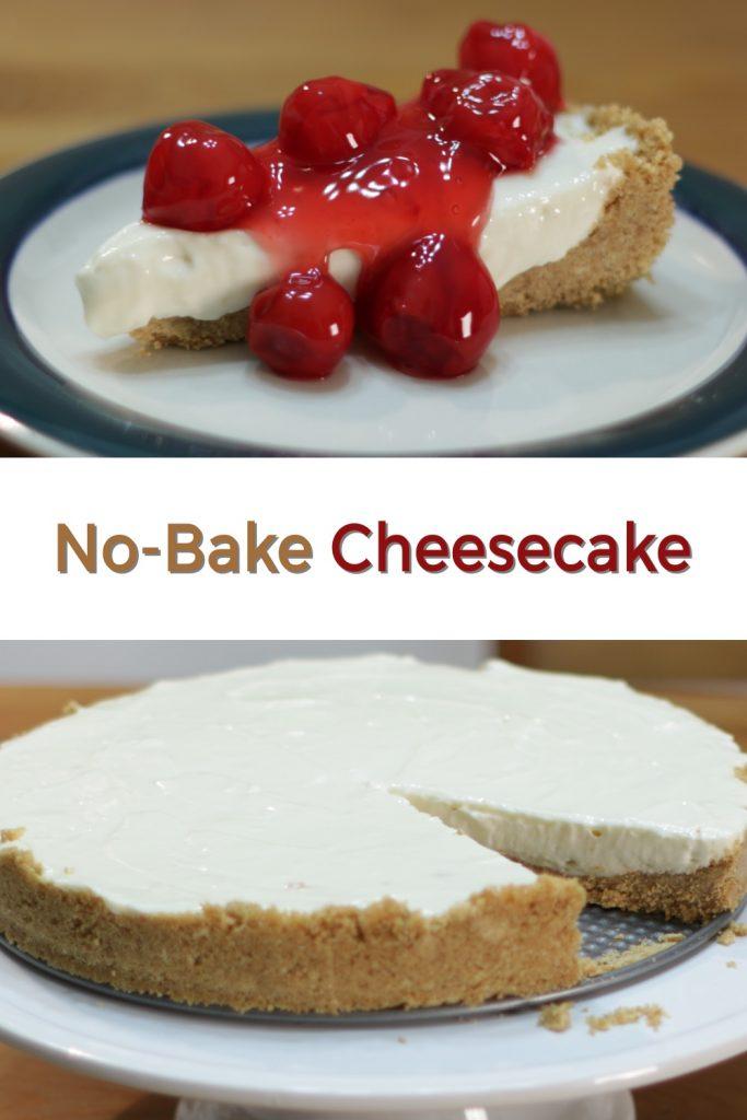 No-bake cheesecake pin for Pinterest