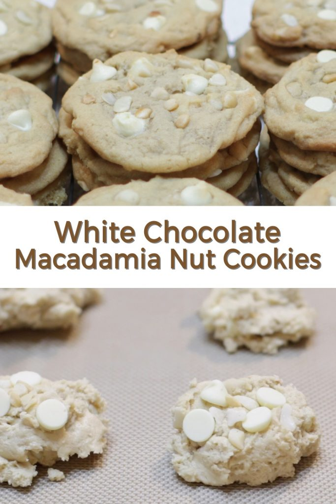 White chocolate macadamia nut cookies pin for Pinterest