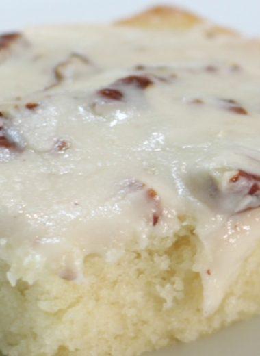 White Texas sheet cake on a plate