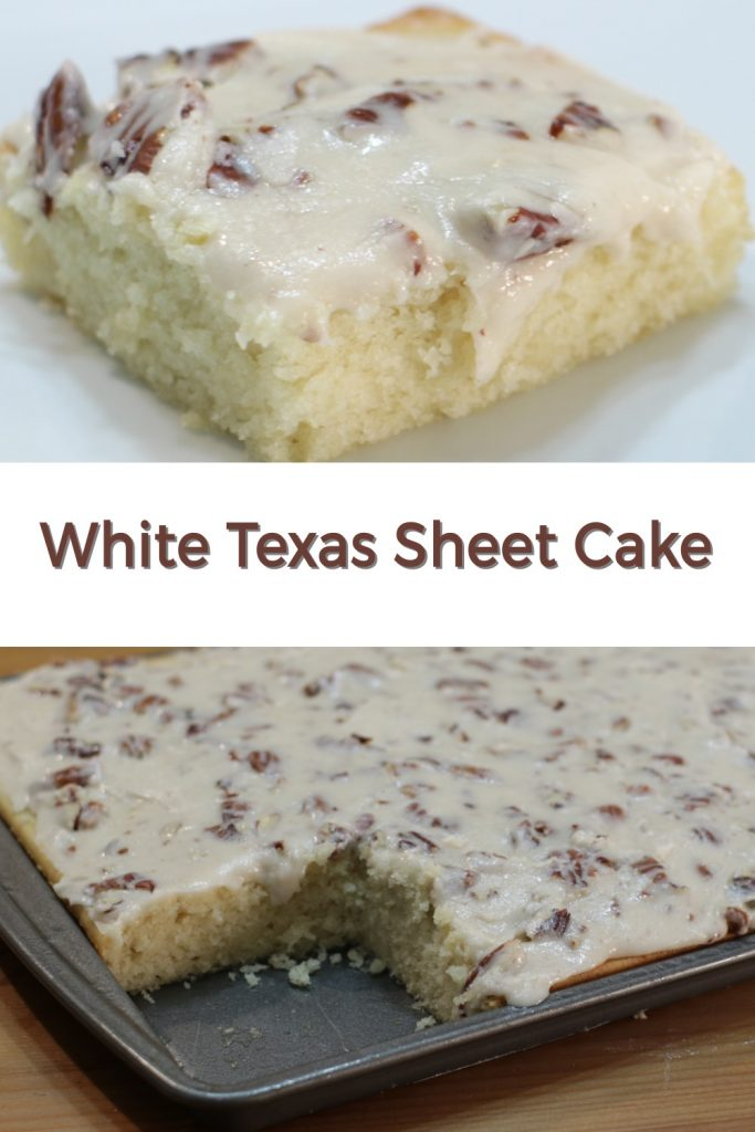 White Texas sheet cake pin for Pinterest