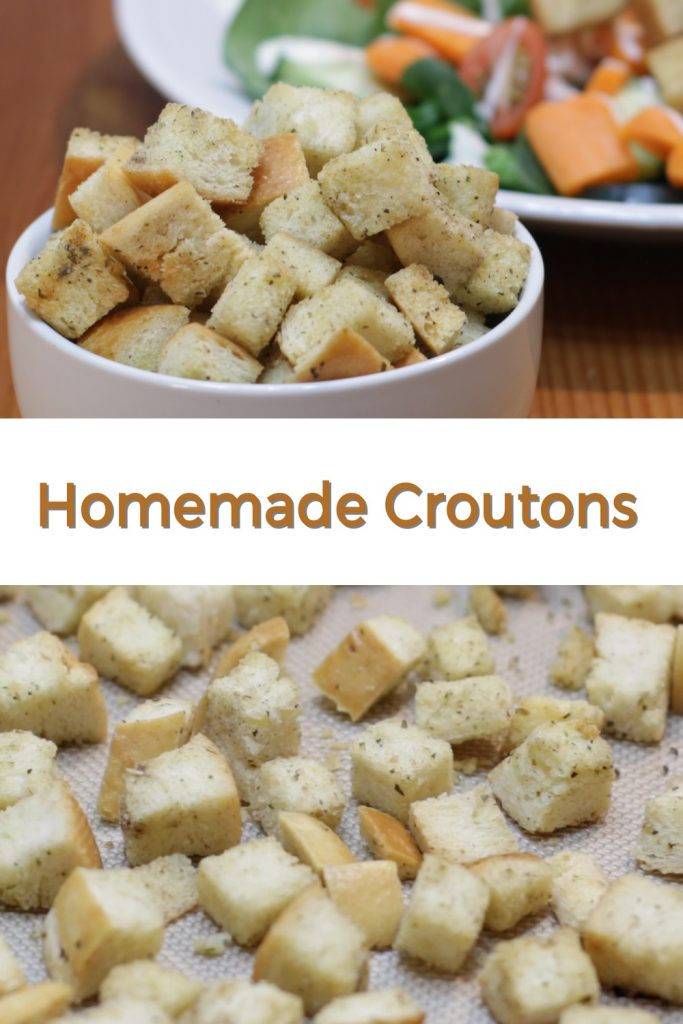 Homemade croutons pin for Pinterest
