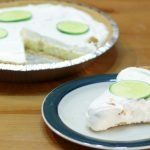 easy homemade key lime pie on a wooden table.