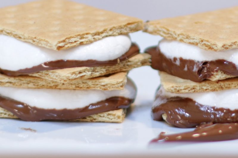 microwave s'mores on a white plate