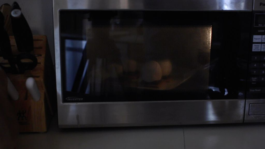 S'mores cooking in the microwave