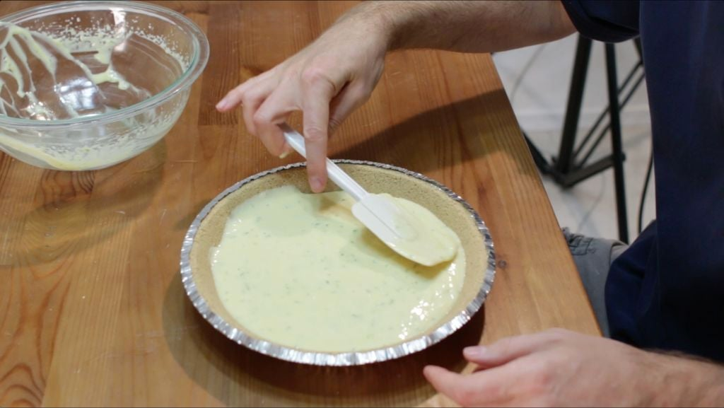 Key lime pie ready to be baked.