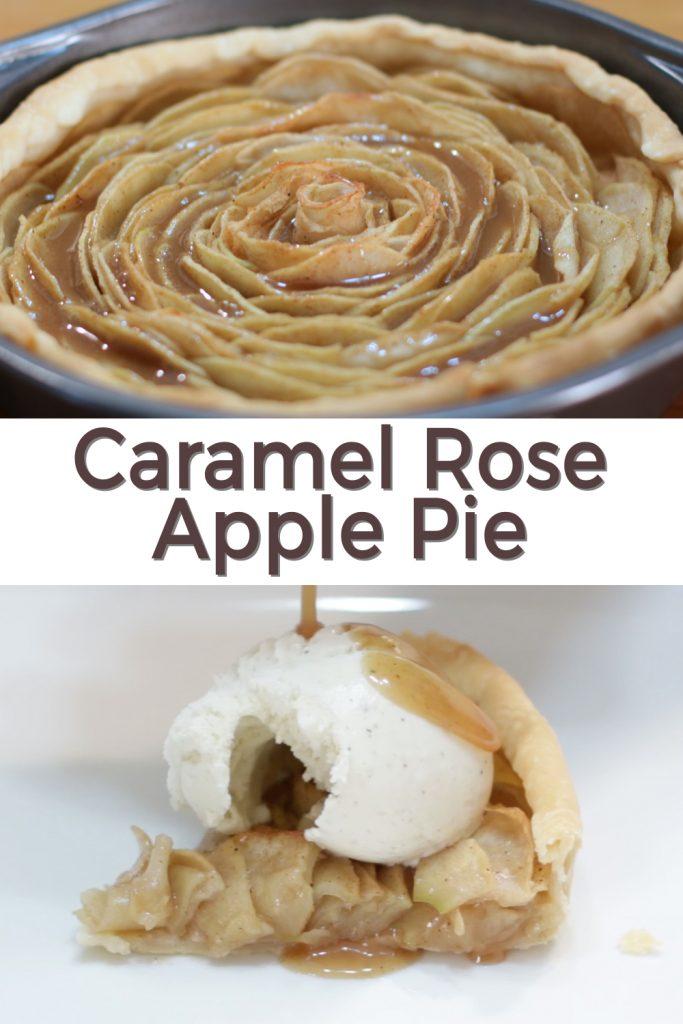 Caramel rose apple pie pin for Pinterest