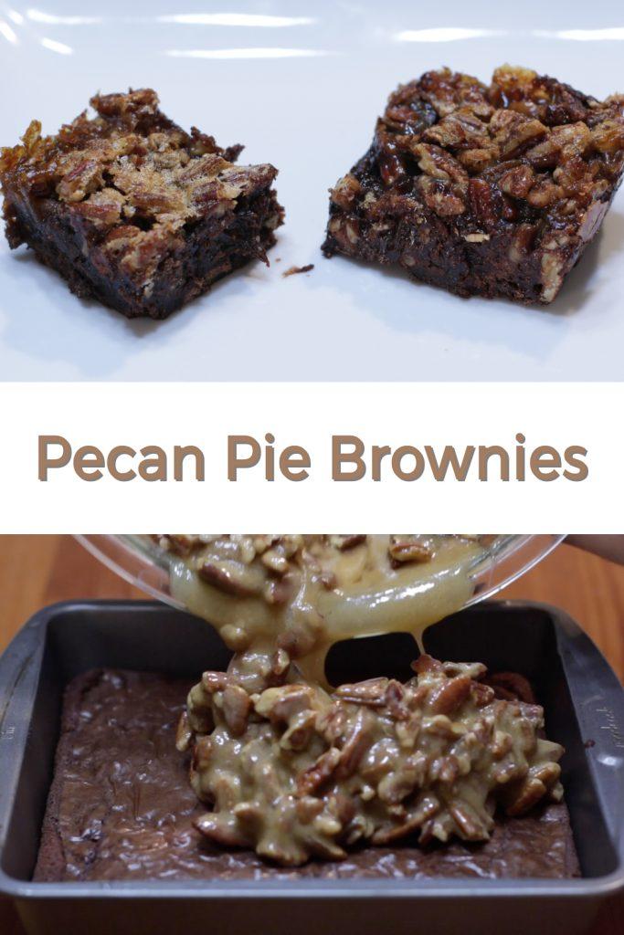 Pecan pie brownies pin for Pinterest