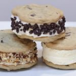 Ice cream cookie sandwich chipwich stacked on a white plate