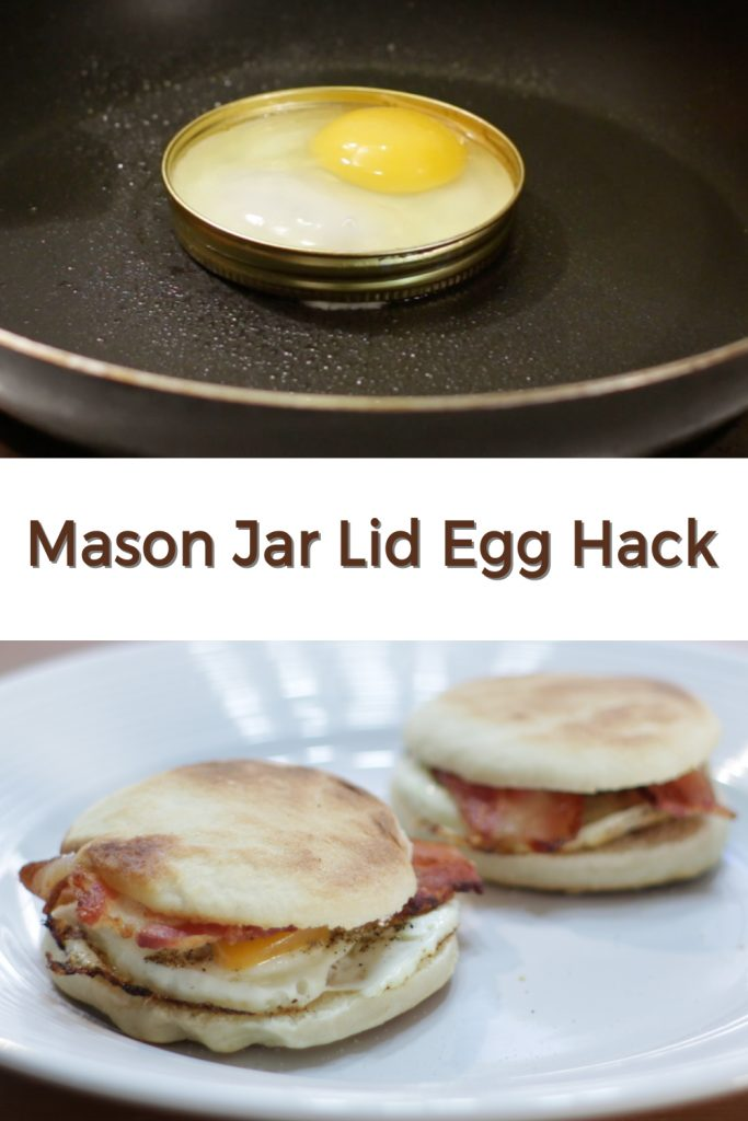 Mason jar lid egg hack pin for Pinterest