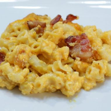 Plate of homemade mac and cheese with bacon