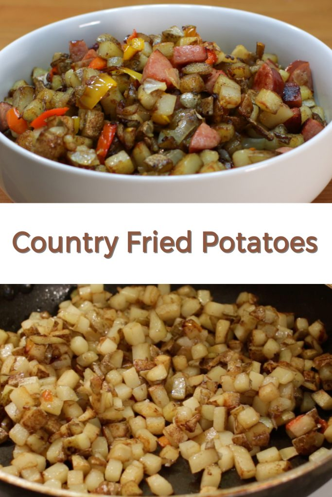 Country fried potatoes pin for Pinterest