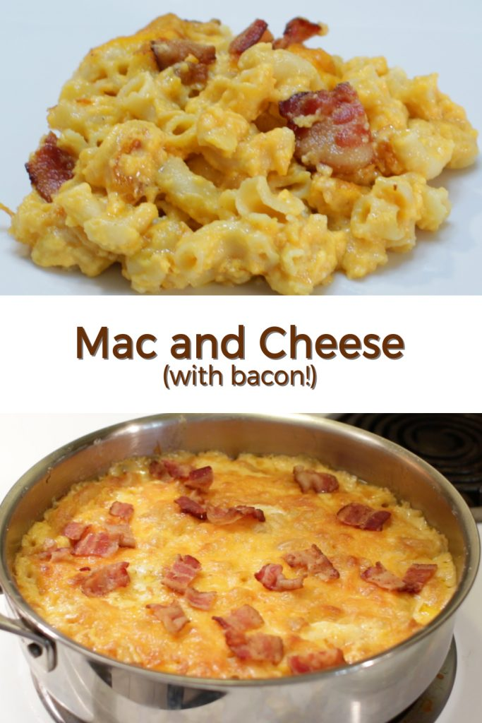 Homemade mac and cheese with bacon pin for Pinterest