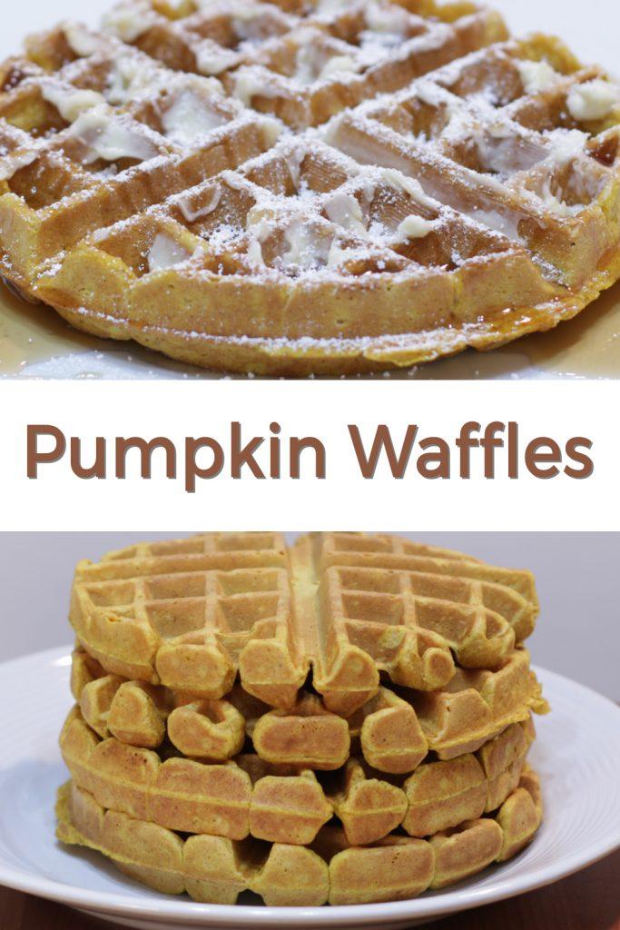 Pumpkin waffles pin for Pinterest
