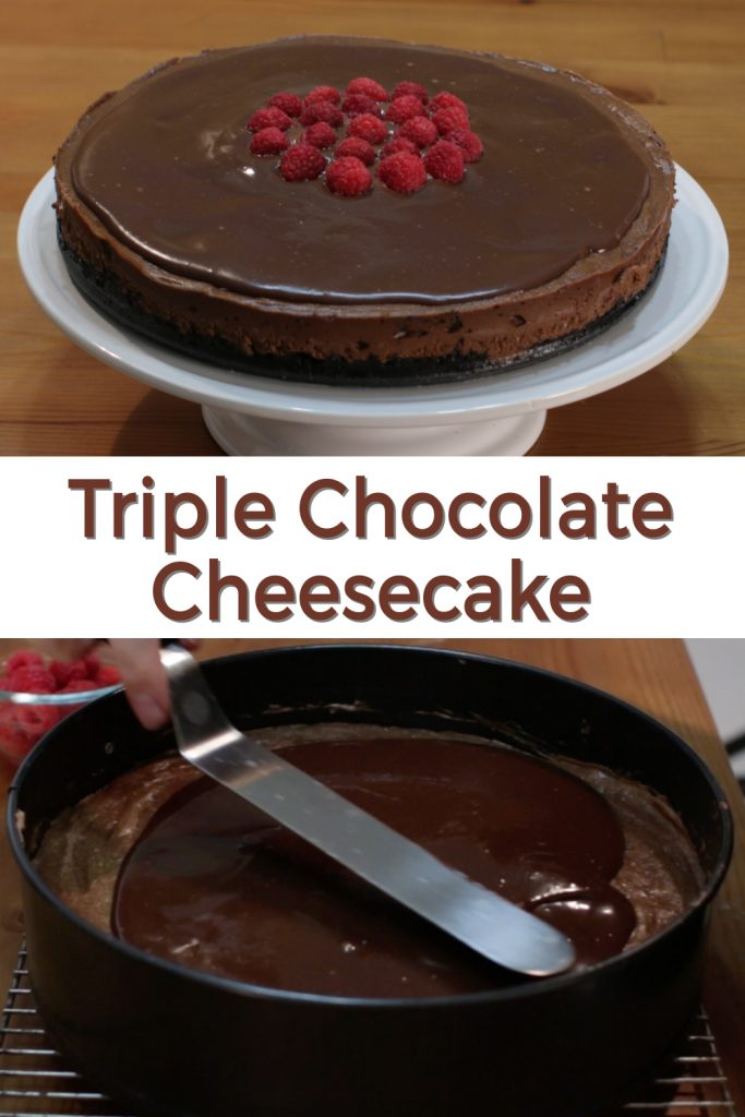 Triple chocolate cheesecake pin for Pinterest