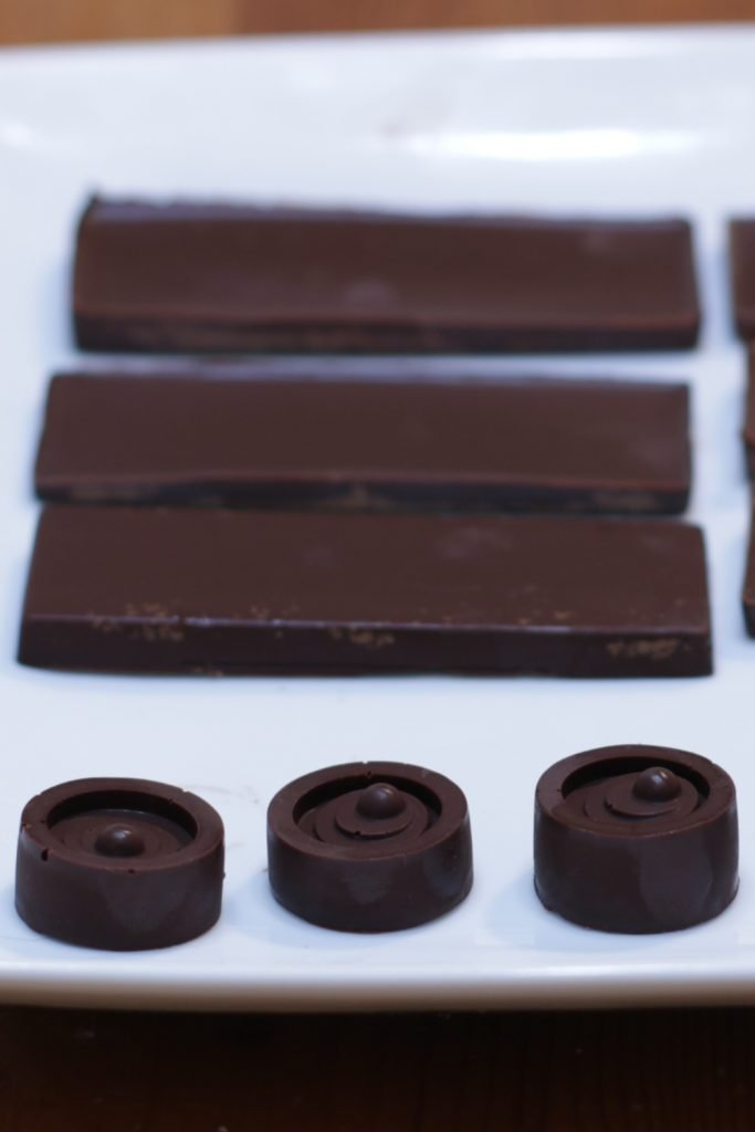 Homemade chocolate on a white plate