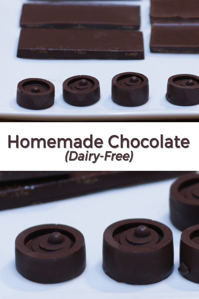 Homemade chocolate dairy-free pin for Pinterest