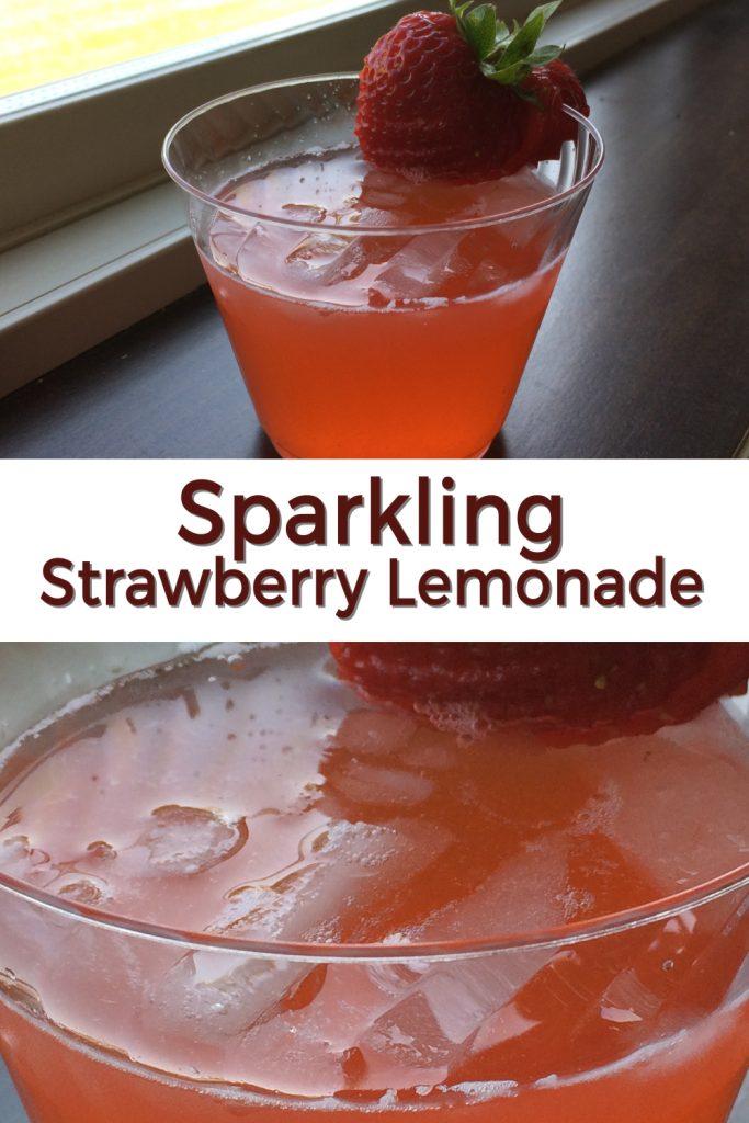 Sparkling strawberry lemonade pin for Pinterest.