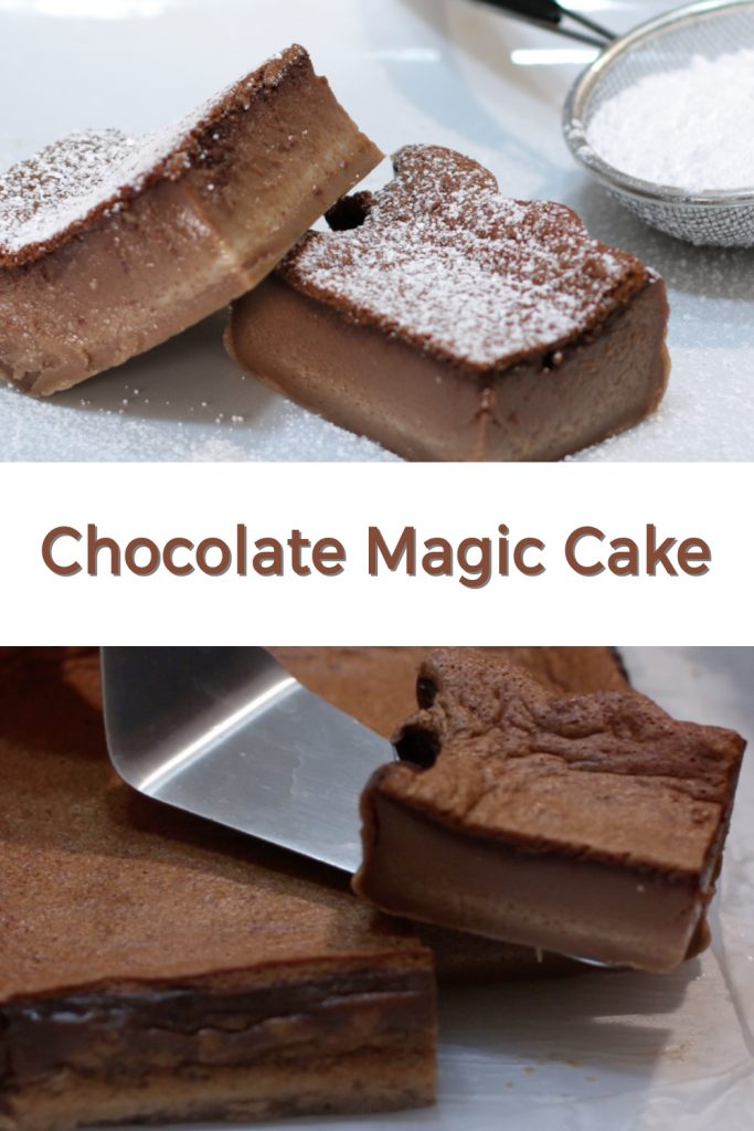 Chocolate magic cake pin for Pinterest