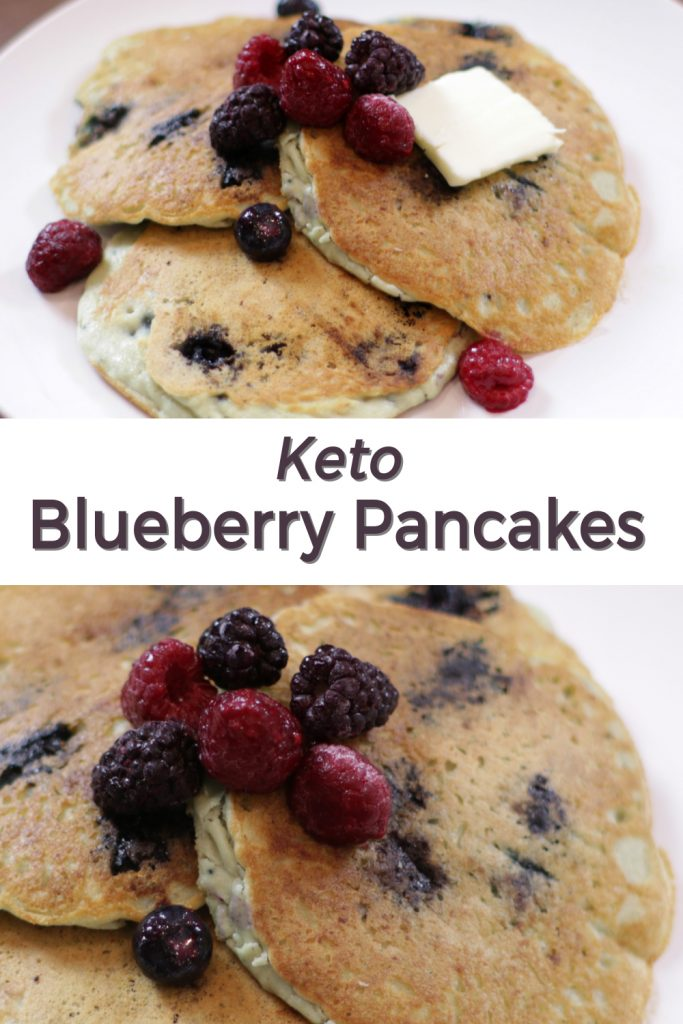 Keto Blueberry Pancakes pin for Pinterest