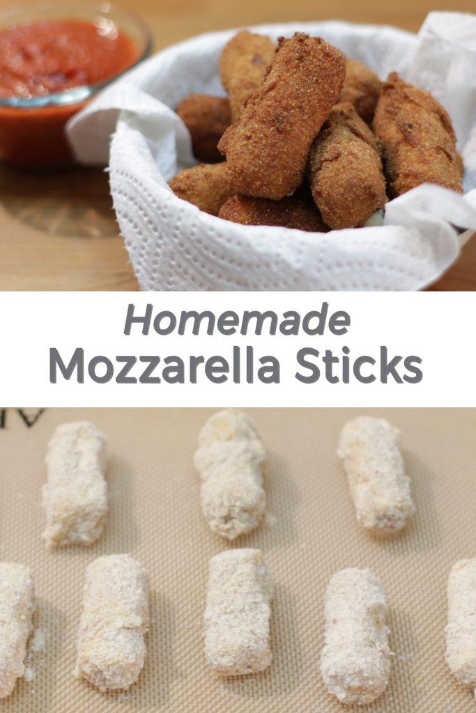 Homemade mozzarella sticks pin for Pinterest