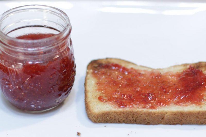 Slice of toast with homemade three ingredient strawberry jam