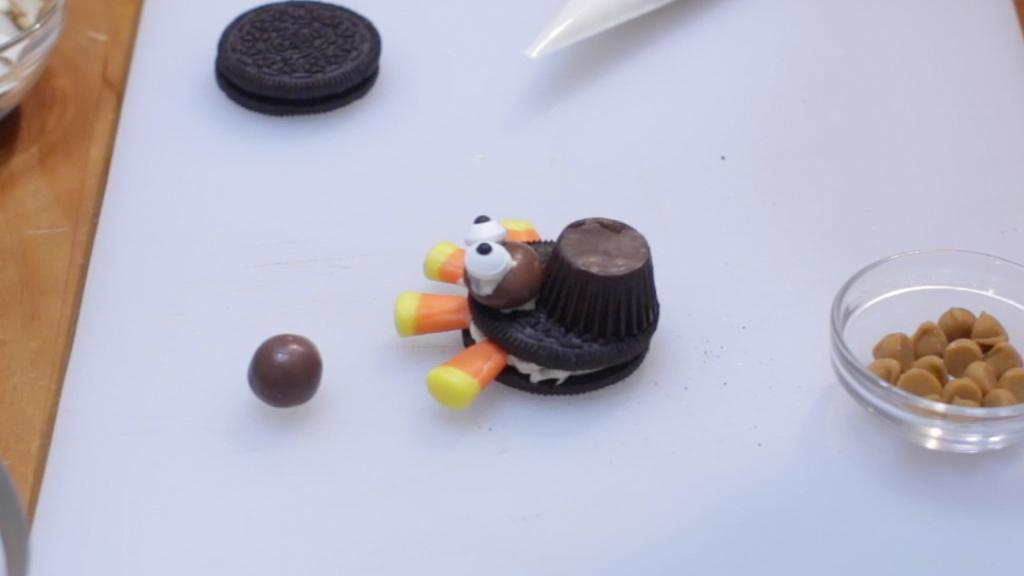 Oreo turkey with milk dud head and candy eyeballs