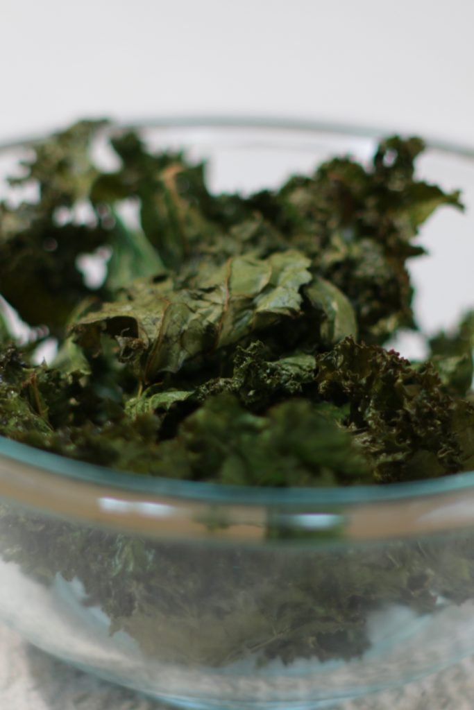 Bowl full of kale chips.