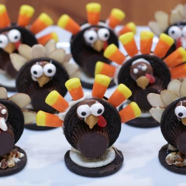 several Oreo Turkeys on a white plate
