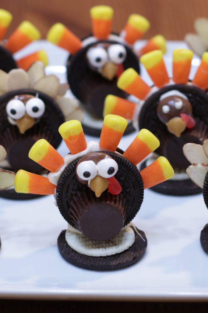 Oreo turkeys on a white plate