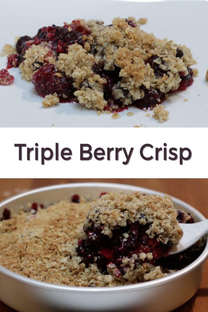 Triple berry crisp pin for Pinterest.