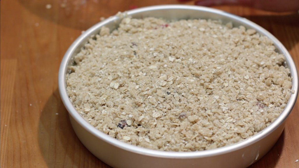Pan of triple berry crisp ready to be baked.