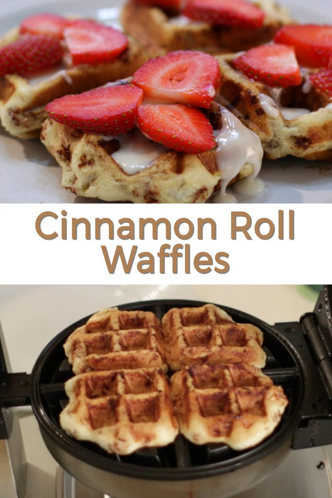 Cinnamon roll waffles pin for Pinterest.