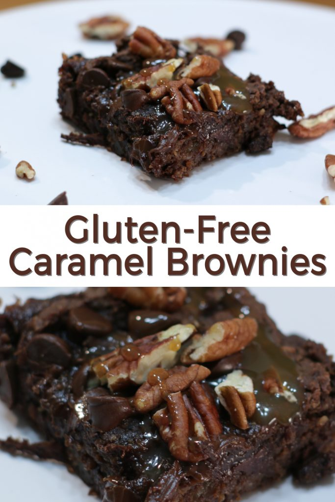 Gluten free caramel brownies pin for Pinterest.