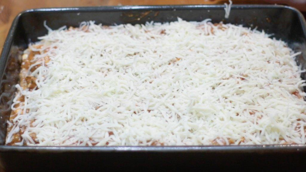 pan of homemade lasagna ready to be bake.