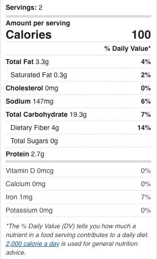 Nutritional facts for homemade microwave popcorn