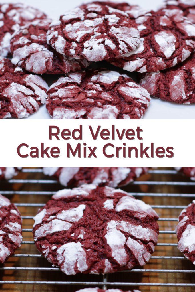 Red velvet cake mix crinkle cookies pin for Pinterest