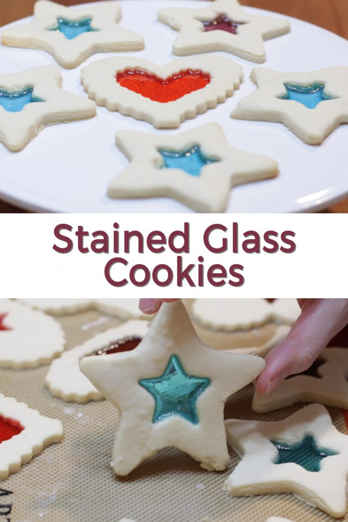 Stained glass cookies pin for Pinterest