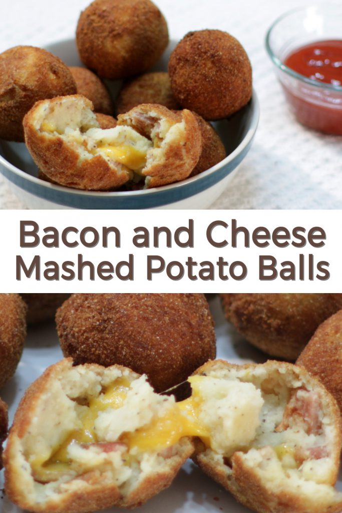 Bacon and cheese mashed potato balls pin for Pinterest