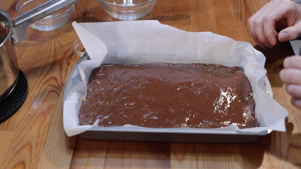 Old fashioned fudge spread out in a pan.