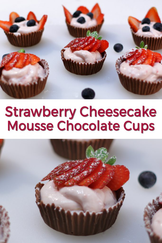 Strawberry cheesecake mousse chocolate cups pin for Pinterest
