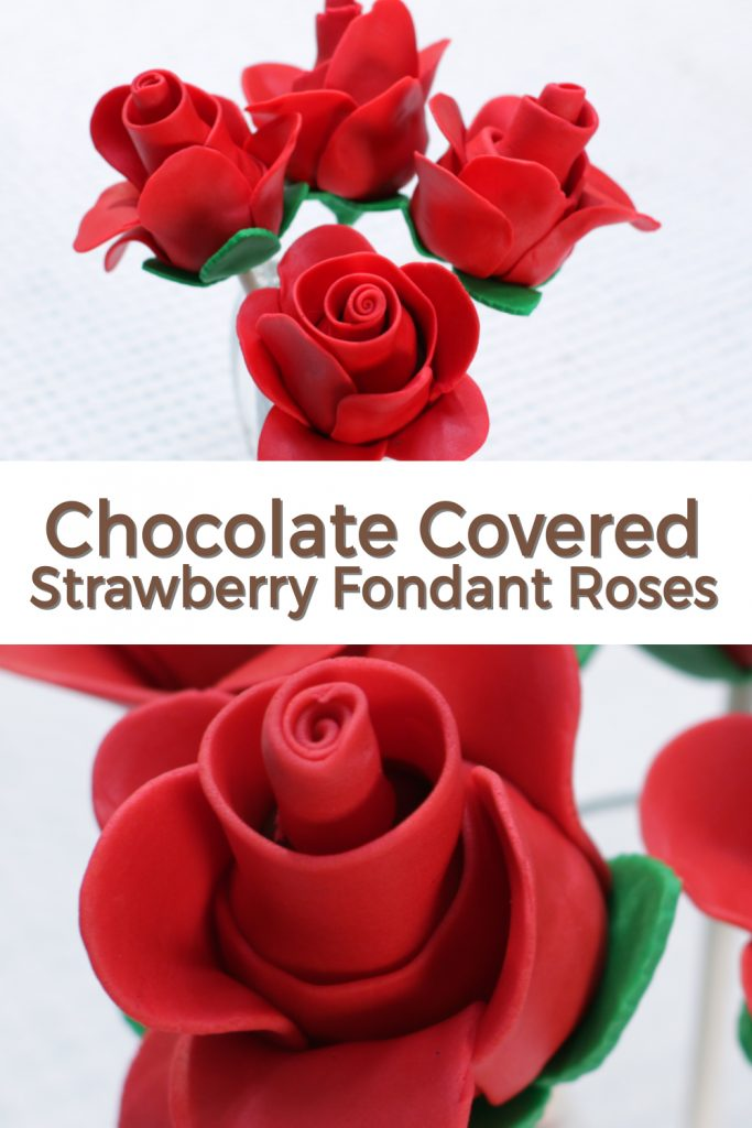 Chocolate covered strawberry fondant roses pin for Pinterest.