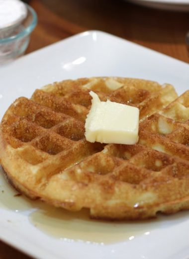 White plate with Jackie Kennedy waffle on it.