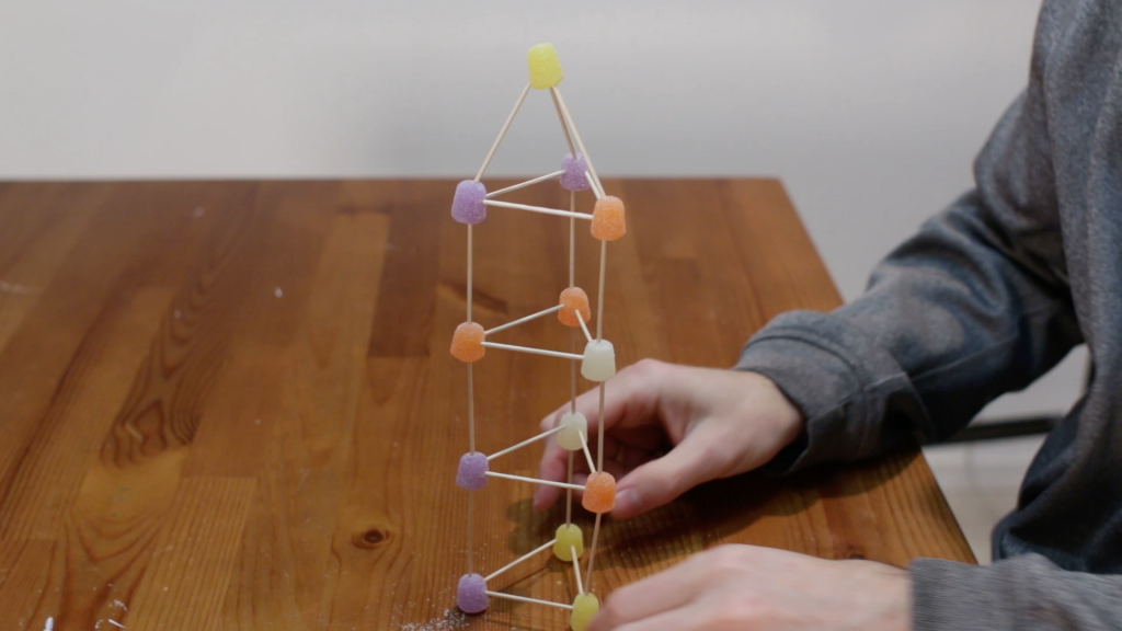 Gumdrop tower made with toothpicks