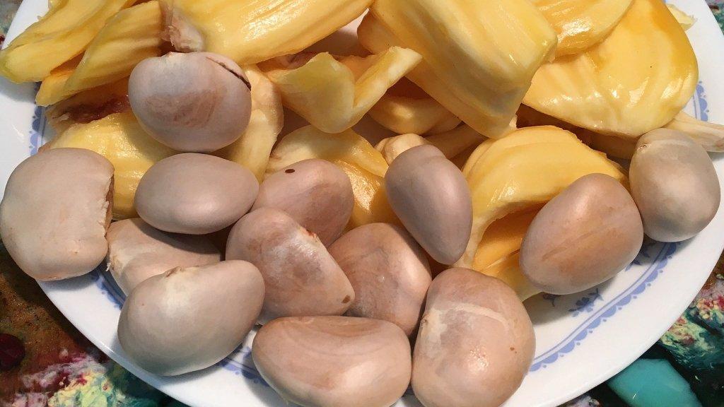 Jackfruit seeds next to jackfruit pods on a plate.