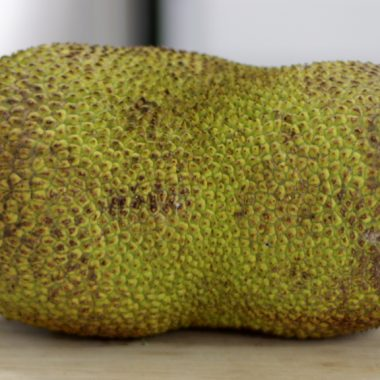 Large jackfruit on a countertop.