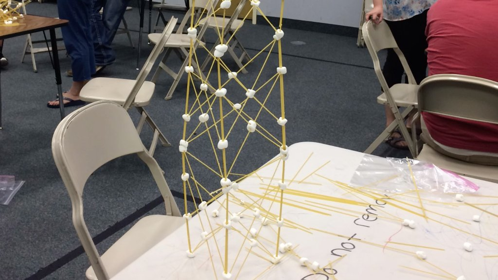 spaghetti tower made with pasta and mini marshmallows
