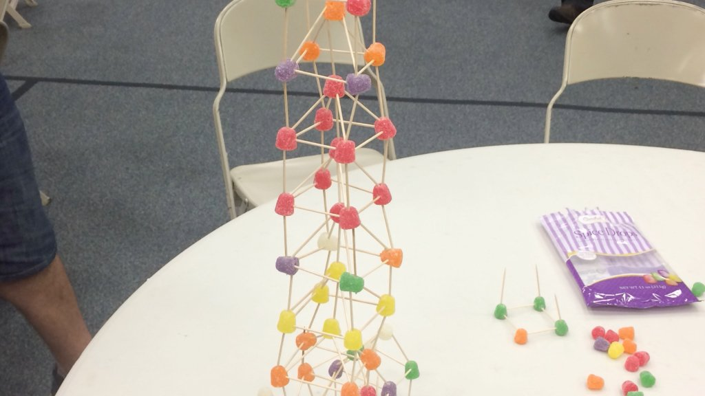 Spice drop tower for a team building activity.