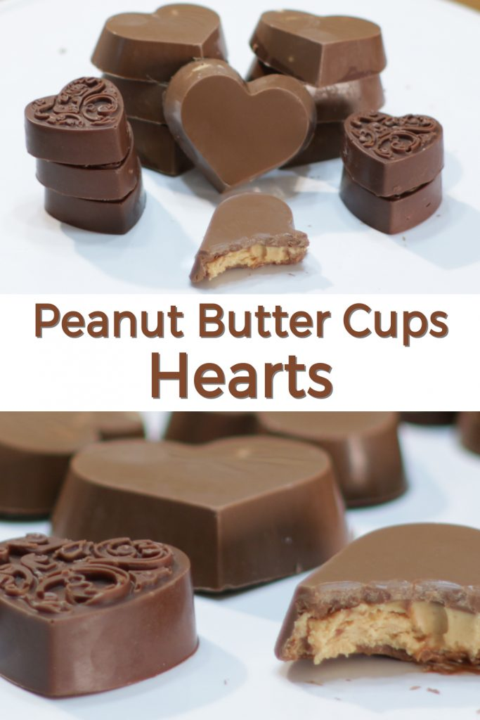Peanut butter cup hearts pin for Pinterest.